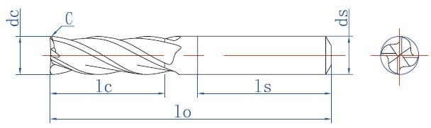 1、刀具尺寸按本公司标准制造,接受非标定制; 2、刃径公差按dc3 直径公差为0/-0.02,dc>3直径公差为0/-0.03,柄部公差为h6; 3、底刃均一刃过中心,有刃倾角; 4、刃尖角为倒角的方式,刀尖角C值如下:D3,C=0.05~0.1;3<D8,C=0.1;8<D12,C=0.15;12<D16,C=0.2;D>16,C=0.